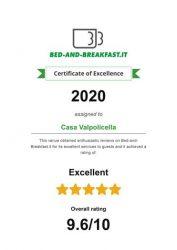 2020 Certificato d'eccellenza Casa Valpolicella B&B